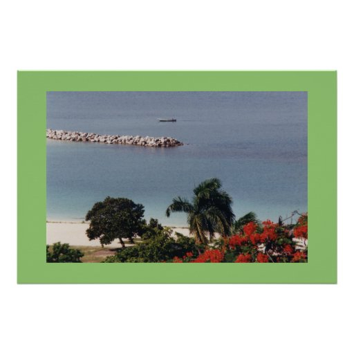 Overlooking Public Beach Montego Bay Large Canvas Poster