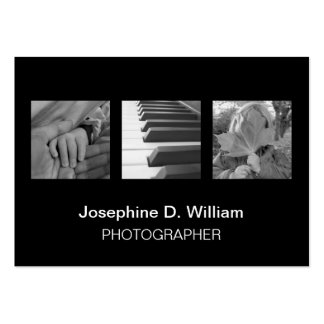 Oversize 3 photos or logo black white modern chic large business card