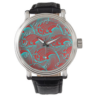 Oversized black leather red blue wave design watch