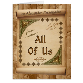 Oversized From Us All Vintage Scroll Custom Name Card
