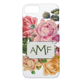 Oversized Victorian Roses & Monogrammed Label iPhone 8/7 Case