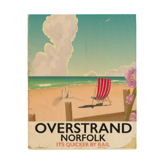 Overstrand Norfolk Beach travel poster Wood Canvases