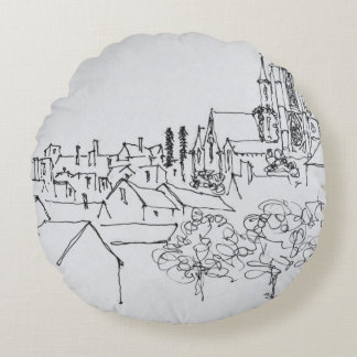 Overview of the City | Nantes, France Round Pillow