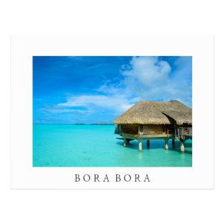 Overwater bungalow, Bora Bora white postcard