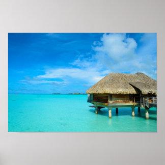 Overwater bungalow on Bora Bora Poster
