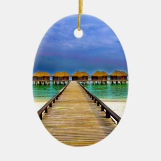 Overwater bungalows at Sheraton Maldives Ceramic Oval Ornament