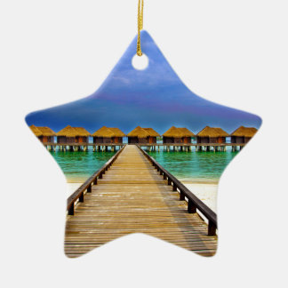Overwater bungalows at Sheraton Maldives Ceramic Star Ornament