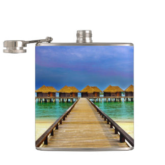 Overwater bungalows at Sheraton Maldives Hip Flask