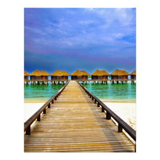 Overwater bungalows at Sheraton Maldives Letterhead Template