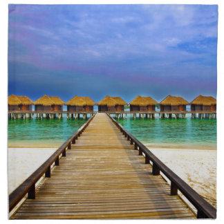 Overwater bungalows at Sheraton Maldives Napkin