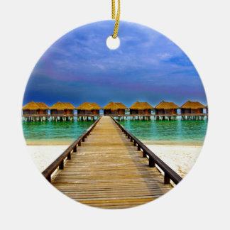 Overwater bungalows at Sheraton Maldives Round Ceramic Ornament