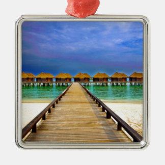 Overwater bungalows at Sheraton Maldives Silver-Colored Square Ornament