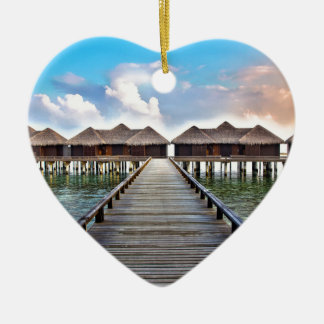 Overwater Bungalows Ceramic Heart Ornament