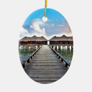Overwater Bungalows Ceramic Oval Ornament
