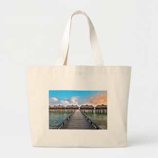 Overwater Bungalows Large Tote Bag