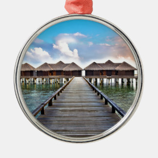 Overwater Bungalows Silver-Colored Round Ornament