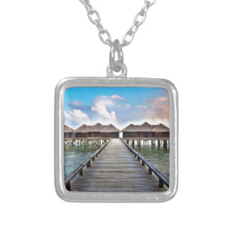 Overwater Bungalows Silver Plated Necklace