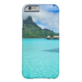 Overwater bungows in Bora Bora lagoon phone case