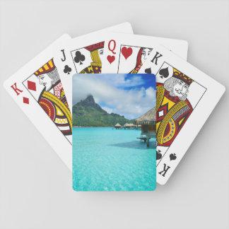 Overwater bungows in Bora Bora lagoon poker deck