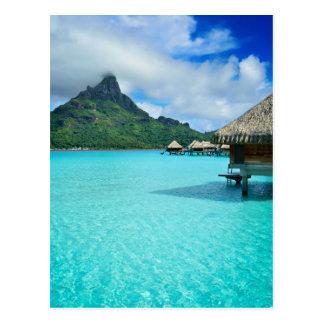 Overwater bungows in Bora Bora vertical postcard