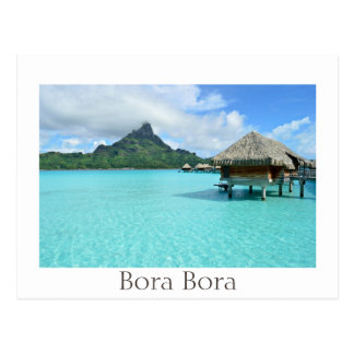 Overwater resort and lagoon on Bora Bora Postcard