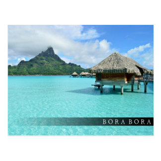 Overwater resort on Bora Bora bar postcard