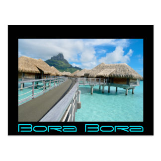 Overwater resort on Bora Bora black text card Postcard