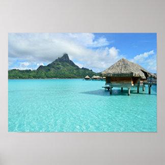 Overwater resort on Bora Bora poster