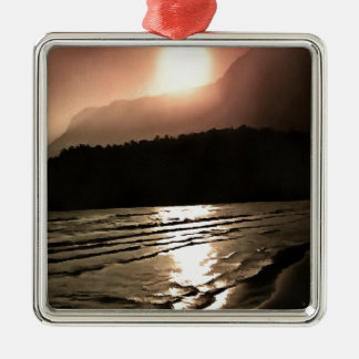 Overwhelming Waves of Sadness Silver-Colored Square Ornament