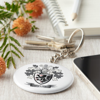 Owens Family Crest Coat of Arms Basic Round Button Keychain