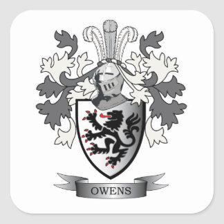 Owens Family Crest Coat of Arms Square Sticker