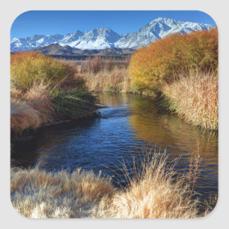 Owens River And Eastern Sierra Nevada Mountains Square Sticker