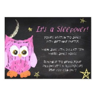 Owl2 Chalk sleepover design Card