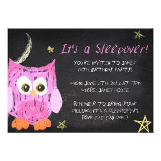 Owl2 Chalk sleepover design Custom Invitation