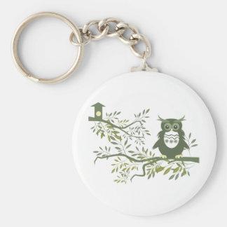 Owl 3 ~ Owl Sitting On Tree Branch Basic Round Button Keychain