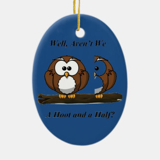 Owl A Hoot and a Half Double-Sided Oval Ceramic Christmas Ornament