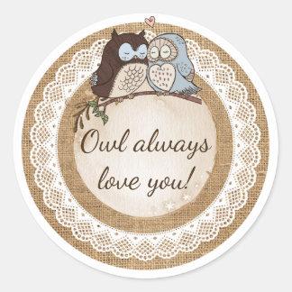 Owl Always Love You Casual Wedding Classic Round Sticker