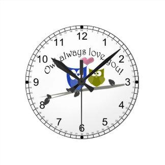Owl always love you, cute Owls Art Wall Clock