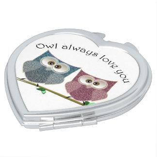 Owl always love you cute Owls Heart Compact Mirror