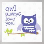 """owl always love you"" nursery wall art purple"
