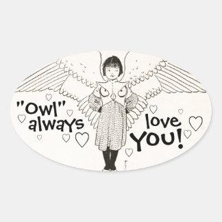 OWL Always Love You Vintage Storybook Illustration Oval Sticker