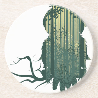 Owl and Abstract Forest Landscape2 Coaster