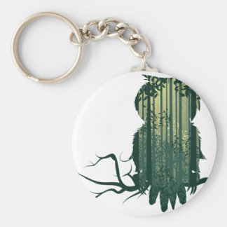 Owl and Abstract Forest Landscape2 Keychain