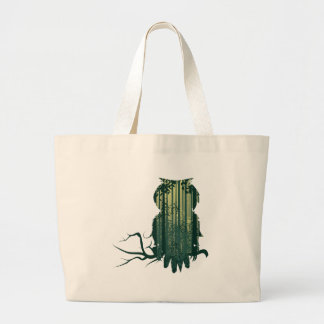 Owl and Abstract Forest Landscape2 Large Tote Bag