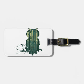 Owl and Abstract Forest Landscape2 Luggage Tag