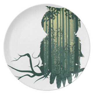 Owl and Abstract Forest Landscape2 Plates