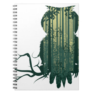 Owl and Abstract Forest Landscape2 Spiral Notebook