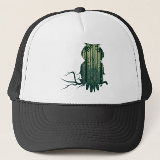 Owl and Abstract Forest Landscape2 Trucker Hat