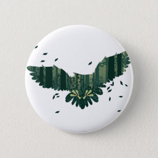 Owl and Abstract Forest Landscape 2 Inch Round Button