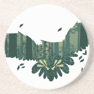 Owl and Abstract Forest Landscape Coaster